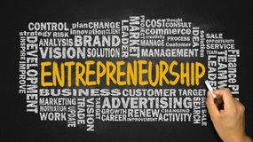 Entrepreneurship with related word cloud handwritten on blackboa Stock Photos