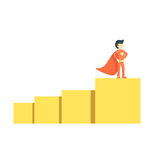 Entrepreneurship success design concept. Entrepreneurship design concept set of startup business management success and strategy with a superhero Royalty Free Stock Images