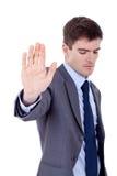 entreprenör som visar teckenstoppet Arkivfoto