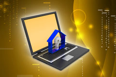 Entreprise immobilière avec le point d'interrogation dans l'ordinateur portable Images stock