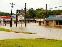 Entreprises locales sous-marines pendant l'ouragan Harvey Flooding images libres de droits