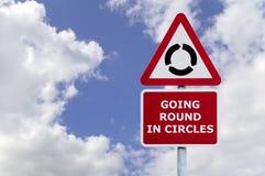 Entrer en rond dans le poteau indicateur de cercles Image stock
