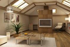 Entresuelo 3d interior de Rmodern Foto de archivo