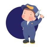 Entretenez le travailleur dans l'usage de travail avec le marteau sur le fond de Blue Circle Photos stock