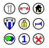 Entretenez les icônes en couleurs Photos stock