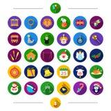 Entretenimento, brinquedos, acessórios e o outro ícone da Web no estilo dos desenhos animados Pinguim, fogos-de-artifício, desemp Fotografia de Stock Royalty Free