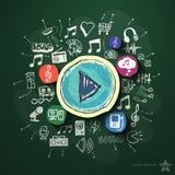 Entretenimento e colagem da música com ícones sobre Imagens de Stock Royalty Free