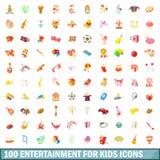 entretenimento 100 para os ícones das crianças ajustados Fotografia de Stock