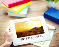 Entretenimento que flui o conceito dos multimédios do canal dos meios foto de stock royalty free