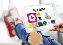 Entretenimiento audio de Media Player que fluye concepto foto de archivo
