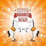 entretenimiento de los caballos del funfair del festival del cartel libre illustration