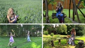 Entretenimiento del verano de la mujer en naturaleza Collage video almacen de metraje de vídeo