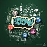 Entretenimiento y collage de la música con los iconos encendido Imagen de archivo