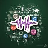 Entretenimiento y collage de la música con los iconos encendido Imagenes de archivo