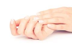 Entretenir des ongles de femme de sensualité photographie stock