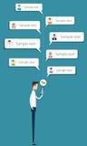 Entretien d'homme d'affaires aux affaires sur le message mobile illustration de vecteur
