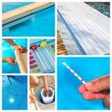 Entretien de collage d'un pool privé photo libre de droits