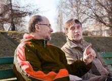 Entretien plus âgé de deux hommes sur un banc de parc Photo libre de droits