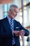 Entretien supérieur d'homme d'affaires au téléphone portable Photo libre de droits
