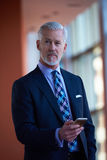 Entretien supérieur d'homme d'affaires au téléphone portable Photos stock