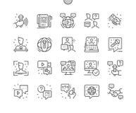 Entrevístese con el pixel Bien-hecho a mano que el vector perfecto alinea ligeramente la rejilla 2x de los iconos 30 para los grá stock de ilustración