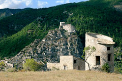 Entrevaux Citadel & Farm Building Royalty Free Stock Photo