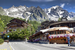 Entreves Courmayeur, a beautiful village with new monte bianco skyway Stock Images