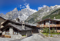 Entreves Courmayeur, a beautiful village with new monte bianco skyway Stock Photography