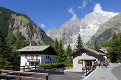 Entreves Courmayeur, a beautiful village with new monte bianco skyway Royalty Free Stock Photo