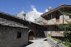 Entreves Courmayeur, a beautiful village with new monte bianco skyway Royalty Free Stock Photography