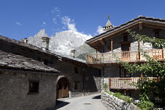 Entreves Courmayeur, a beautiful village with new monte bianco skyway. Italy Royalty Free Stock Images