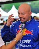 Entrevista com o Kiki na tração 2010 da fórmula fotografia de stock