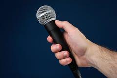 Entrevista con el micrófono Imagen de archivo libre de regalías