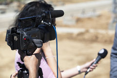 Entrevista da tevê Foto de Stock