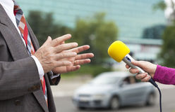 Entrevista de los medios Imagen de archivo libre de regalías