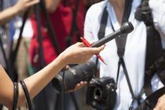 Entrevista de los medios Fotos de archivo