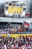 Entrevista en el podio del primer Grand Prix de Rusia Foto de archivo libre de regalías