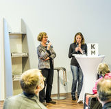 Entrevue avec Barbara Klemm à la foire de livre de Francfort 2014 Photo libre de droits
