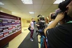 Entrevue avec l'équipe de football en avant russe Alexander Kerzhakov Photographie stock libre de droits