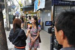 Entrevue d'actualités de TV Photographie stock
