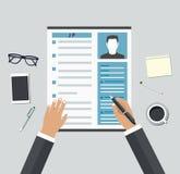 Entrevue d'emploi Considération par des profils de concept de personnel Image stock