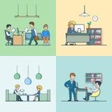 Entrevue plate linéaire de réunion de société d'assurance-vie de bureau illustration stock