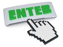 Entrez dans la flèche indicatrice de main de bouton Images stock
