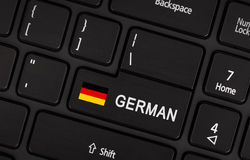 Entrez dans le bouton avec le drapeau Allemagne - concept de langue Photos stock