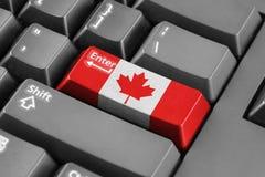 Entrez dans le bouton avec le drapeau de Canada photo stock