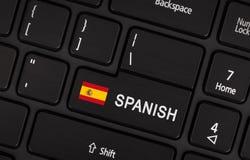 Entrez dans le bouton avec le drapeau Espagne - concept de langue Images libres de droits
