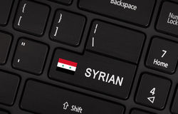 Entrez dans le bouton avec le drapeau Syrie - concept de langue Image stock