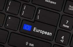 Entrez dans le bouton avec UE de drapeau - concept de langue Image stock