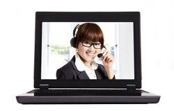 Entrez en contact avec nous et le centre d'attention téléphonique d'Internet Photos stock