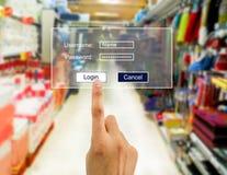 Entrez le mot de passe dans le supermarché images libres de droits